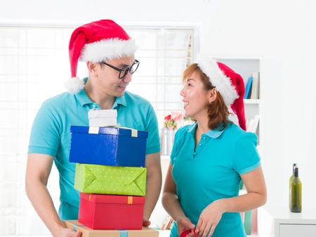 asian couple lifestyle celebration christmas photo, south east asian Stock Photo - 16711329