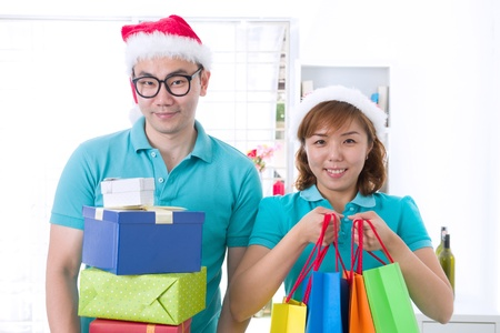 asian couple lifestyle celebration christmas photo, south east asian photo