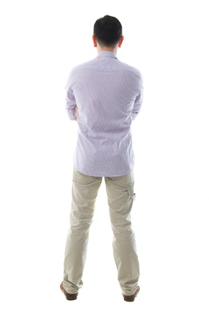 man behind: south east asian man casual standing ,isolated on white Stock Photo