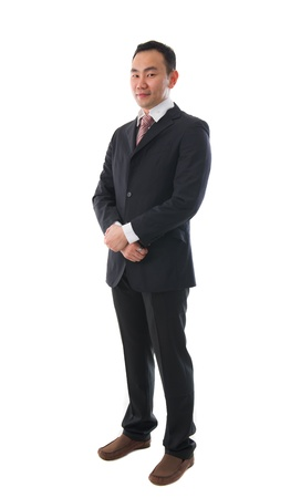south asian ethnicity: south east asian business man , chinese ethnicity full body Stock Photo