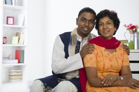 indian punjabi mother and son lifestyle photo in traditional dress photo