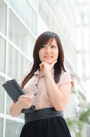 chinese female student in formal wear thinking Stock Photo - 16711320