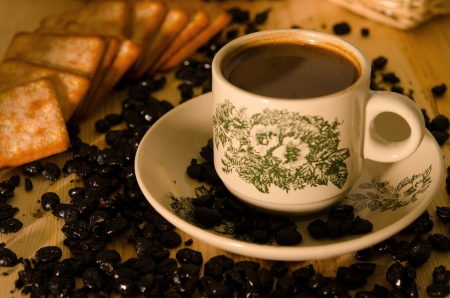kopi: kopitiam style malaysian coffee , traditional. Fractal on the cup is generic print Stock Photo