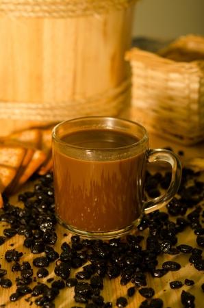 kopitiam: kopitiam style malaysian traditional coffee.  Stock Photo
