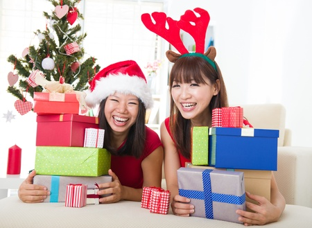 asian friends christmas celebration lifestyle photo