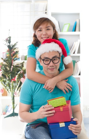 asia family christmas celebration, chinese south east asian people Stock Photo - 16790947