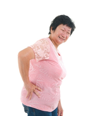 asian senior lady backpain in agony photo
