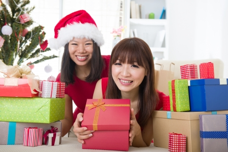chinese girls celebrating christmas  photo