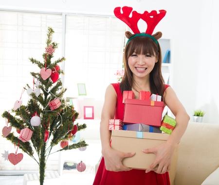 chinese girls celebrating christmas Stock Photo - 16926251
