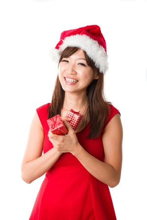chinese girl celebrating christmas photo