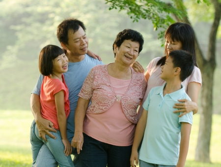asian family outdoor quality time