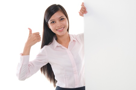 thai student: malay business woman success with blank cardboard Stock Photo
