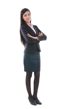 mani incrociate: donna d'affari malese in tutto il corpo
