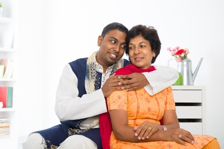 salwar: punjabi family ,mother and son with traditional punjab dress