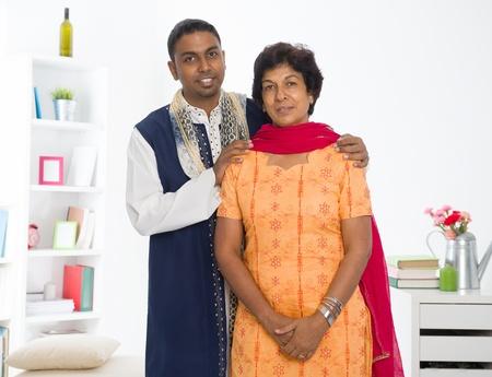 dhoti: punjabi family ,mother and son with traditional punjab dress