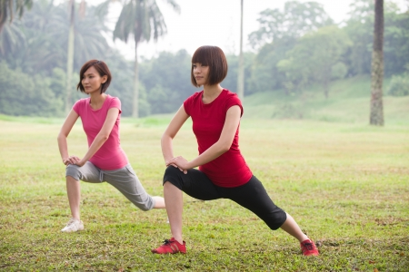 asian woman workout outdoor, chinese ethnicity photo