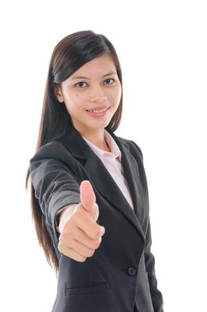 malay business woman thumbs up photo