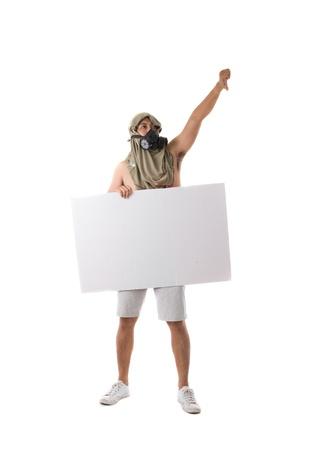 protestor: protestor isolated in white