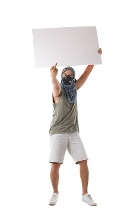 riot: protestor isolated in white