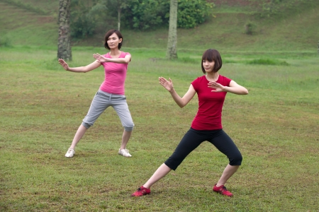 tai chi: asian girls tai chi outdoor , chinese women  Stock Photo