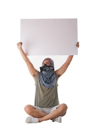 protestor isolated in white Stock Photo - 17046581