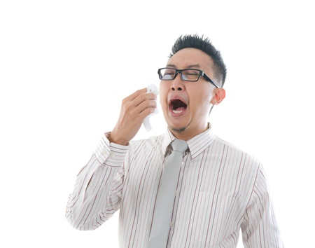 sneeze: asian business man having a sick flu