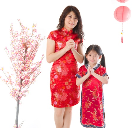 chinese new year family mother and daughter greetings celebration photo photo