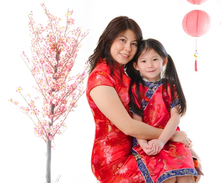 chinese new year family mother and daughter celebration photo Stock Photo - 17047021