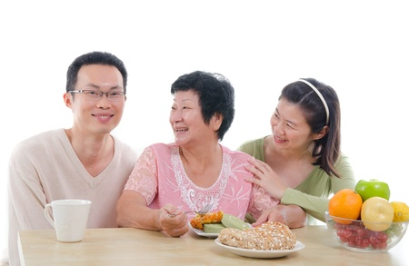 familial affection: asian family healthy lifestyle