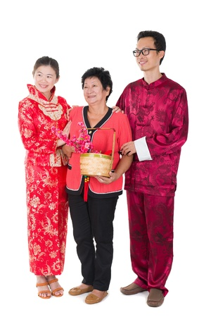 pow: chinese new year family with ang pow symbol of luck