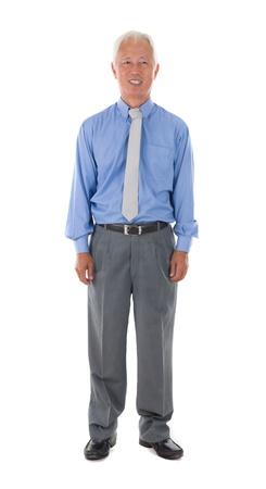 white body suit: asian senior business man , isolated on white full body