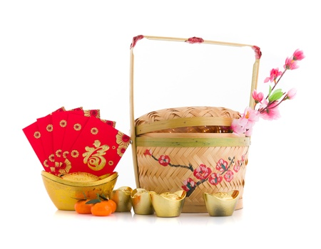 chinese new year decorations hamper isolated on white