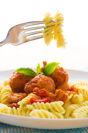 pasta salad: fresh pasta with meat balls focus on for