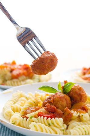 fresh pasta with meat balls photo