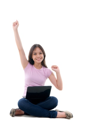 pan asian: asian young student with success stance Stock Photo