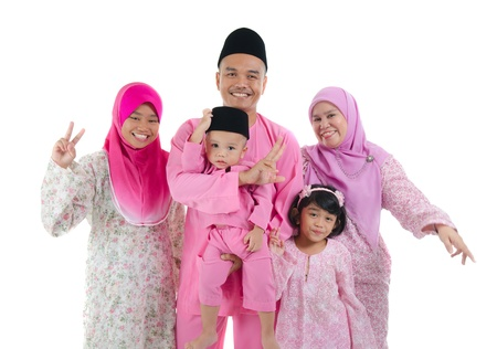 indonesian family during hari raya photo