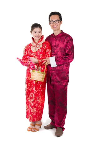 estival: young chinese new year husband and wife couple Stock Photo