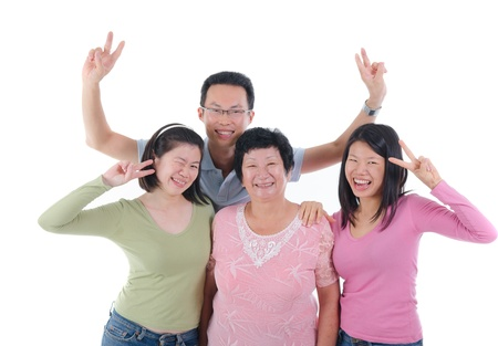 fun adult asian chinese family photo