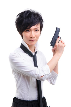 korean fashion: korean girl with a hand gun Stock Photo