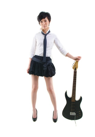 tomboy: japanese girl with electric guitar Stock Photo