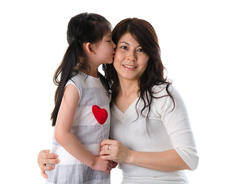 korean mother and her daughter with isolated background during mother's day photo