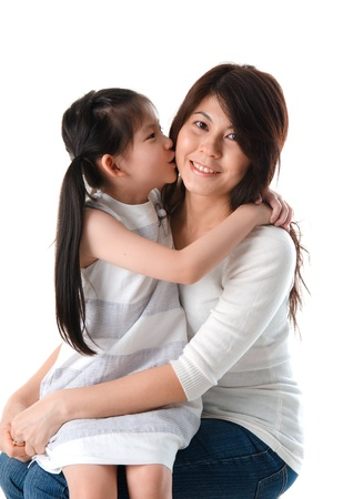korean mother and her daughter with isolated background photo