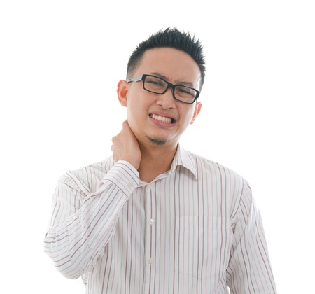 agony: asian chinese Man with neck pain in agony  Stock Photo