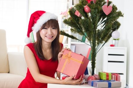 asian girl christmas celebration at her home Stock Photo - 18573811