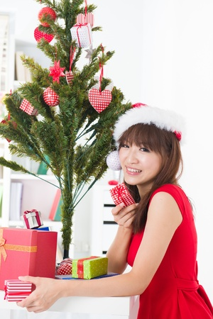 asian girl christmas celebration at her home Stock Photo - 18573804