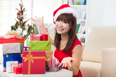 asian girl christmas celebration at her home Stock Photo - 18573780