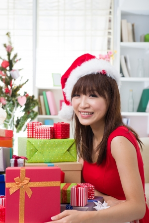 asian girl christmas celebration at her home Stock Photo - 18573783