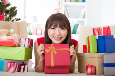 asian girl christmas celebration at her home Stock Photo - 18573794