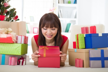 asian girl christmas celebration at her home Stock Photo - 18573778