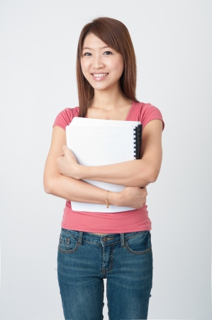 chinese student with plain background photo